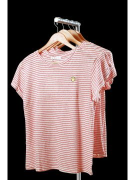 Weekend Cotton Red Stripes Half Top