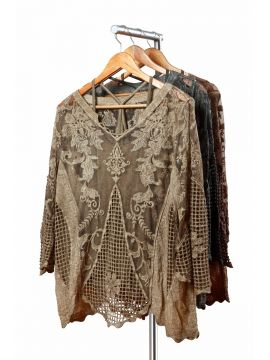 Weekend Net Cotton Greenish Brown Half Top