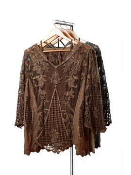 Weekend Net Cotton Brown Half Top