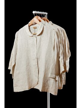 Weekend Linen Cotton Cream Overcoat Half Top