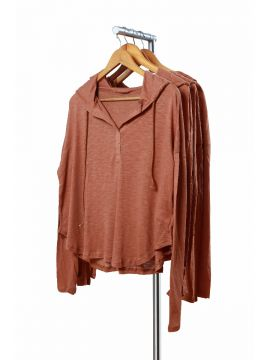 Weekend Cotton Brown Half Top