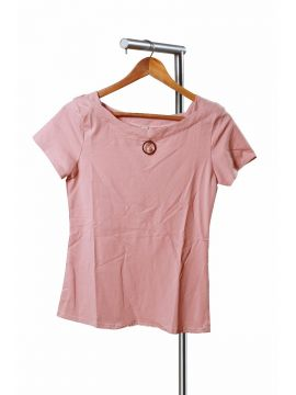 Weekend Pink Crepe Half Top