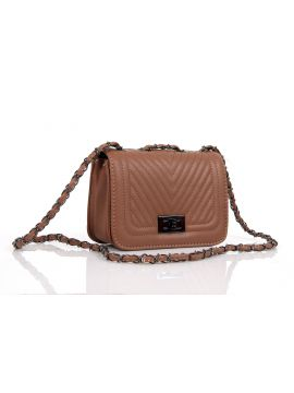 Beige Ladies Leather Sling Bag