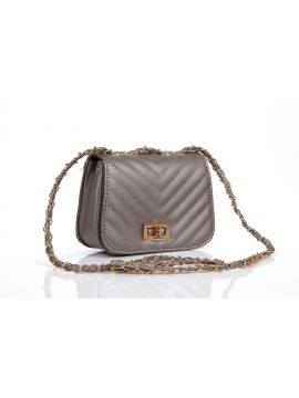 Gray Silver PU Leather Sling Bag