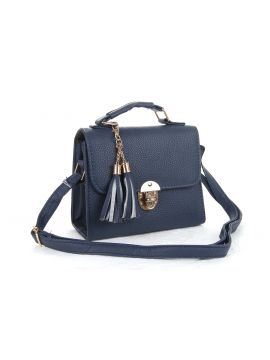 Dark Blue PU Leather Sling Bag