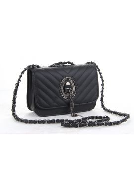 Black PU Leather Sling Bag