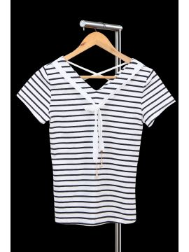 Weekend Black & White Stripes Crepe Half Top