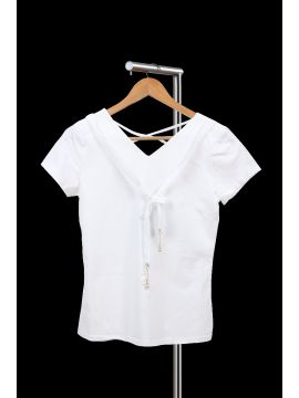 Weekend White Crepe Half Top