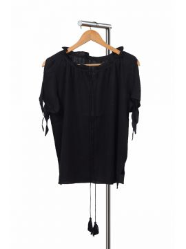 Weekend Cotton Black Half Top